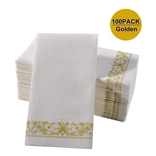 Gold Napkins & Guest Linen Paper Hand Towels for Bathroom Decorative, Super Soft-Absorbent Multiple Special Occasion Guest Towel for Weddings, Parties, Dinners, Powder Room or Events 12x16 Inch