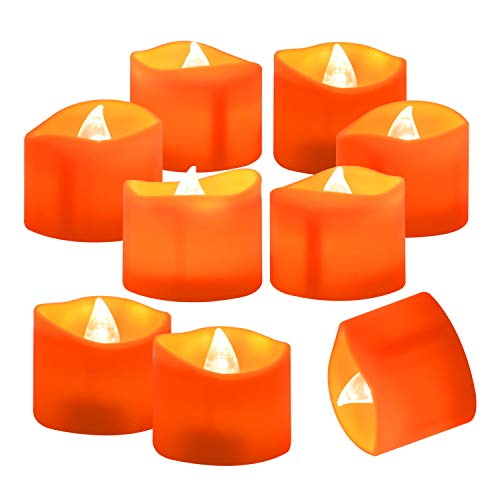 Homemory 24 Pack Battery Operated LED Tea Lights, Orange Flameless Votive Tealights with Warm White Flickering Lights, Small Electric Fake Tea Candles Realistic for Halloween, Pumpkin Lanterns (Orange Holders Light Tea)