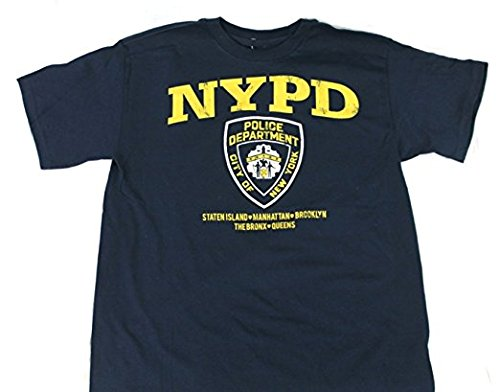 NYPD New York Police Department Shield Adult Mens Navy Tee T Shirt 5 boroughs Yellow Distressed Print (Small)