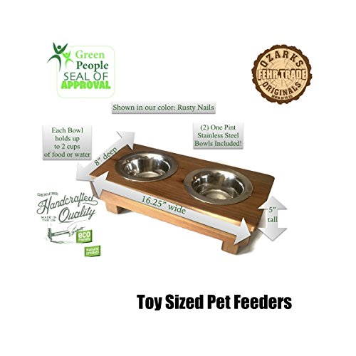 OFTO Raised Dog Single or Double Bowls - Solid Wood Cat and Dog Bowl Stands, with Embossed Stainless Steel Bowl(s) -Large, Medium, and Universal Sizes - Eco-Friendly and Non-Toxic - Made in the USA by OFTO (Image #2)