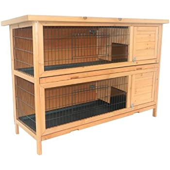 Pawhut 2 Story Stacked Wooden Outdoor Bunny Rabbit Hutch/Guinea Pig House