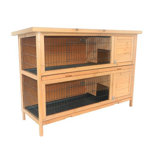 Brown Pawhut 2 Story Stacked Wooden Outdoor Bunny Rabbit Hutch Guinea Pig House