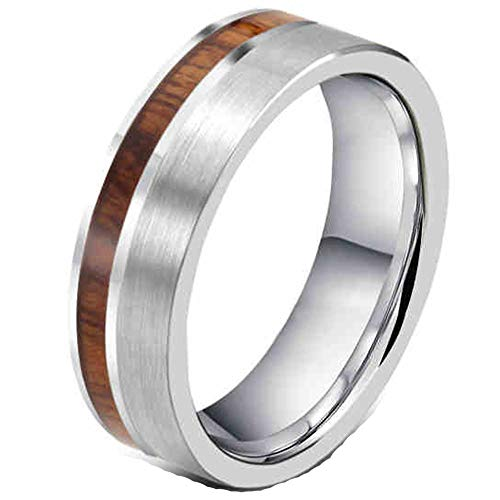 - Fashion Month Mens Womens 8mm Tungsten Silver Ring Vintage Wedding Engagement White Band with 100% Koa Wood Flat Top Size 7