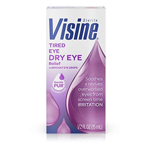 Visine Tired Eye Dry Eye Relief Eye Drops for Screen Time Irritation, 0.5 fl. oz (Best Eye Drops Dry Tired Eyes)