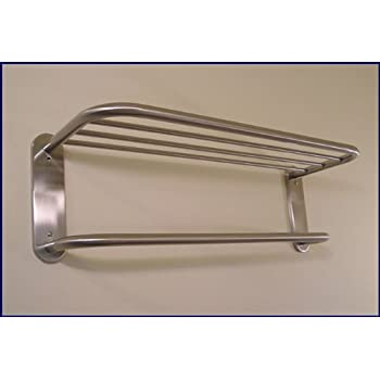Hotel Towel Rack Shelf in Satin Nickel 18 - Mounted Bathroom Shelves ...