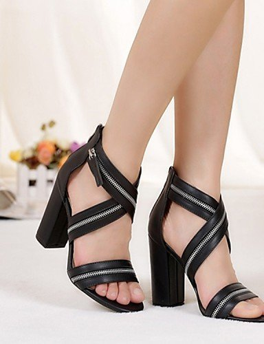 Ouvertes Femmes Robe Noir Talon Talons Casual Shangyi Beige Chaussures Beige Chunky Similicuir Orteils Sandales TxHST0