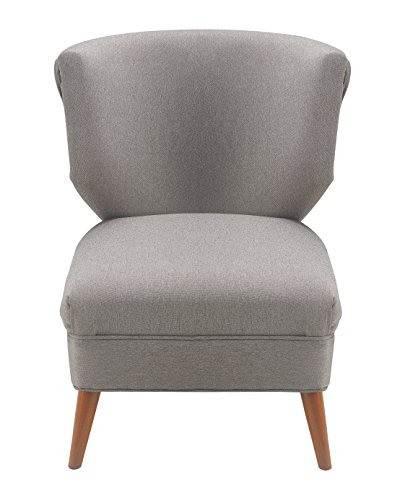 Elle Decor Elle Décor Amelie Accent Chair, Gray - Designed as an elegant accent to the amelie sofa and Loveseat from Elle Decor Show off your sophisticated taste with the Elle Decor amelie accent chair Curvy contoured butterfly Back adds chic detail to your home or office - living-room-furniture, living-room, accent-chairs - 41eLsTzKDYL -