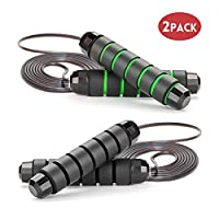 GoxRunx Jump Rope, Adjustable Skipping Rope with Anti-Slip Handles Ideal for Training, Fitness & Cardio - Rapid Speed Rope Crossfit Jump Ropes for Women, Men, Kids(Black+Green)