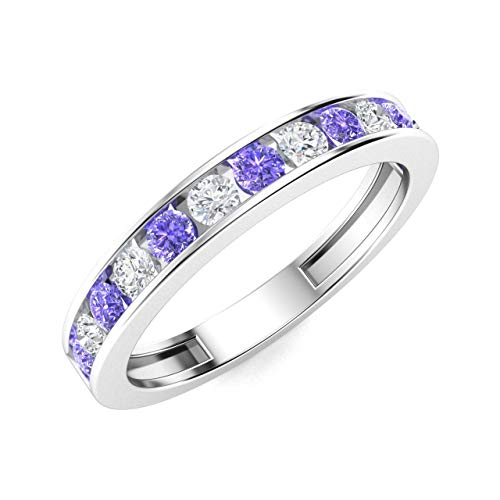Diamondere Natural and Certified Tanzanite and Diamond Wedding Ring in 14K White Gold | 0.52 Carat Half Eternity Stackable Band for Women, US Size 6