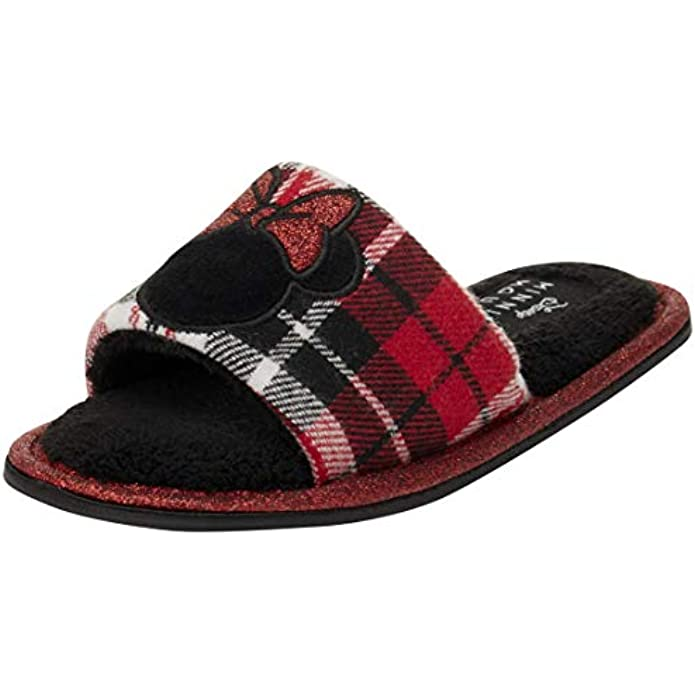 Disney Girls' Slippers - Minnie Mouse Plush Fuzzy Slip-On House Shoes (Little Kid/Big Kid)