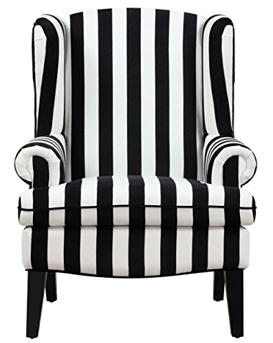 Tov Furniture The Paris Collection Modern Velvet Fabric Upholstered Wood Living Room Accent Wingback Chair, Black & White Stripe Review