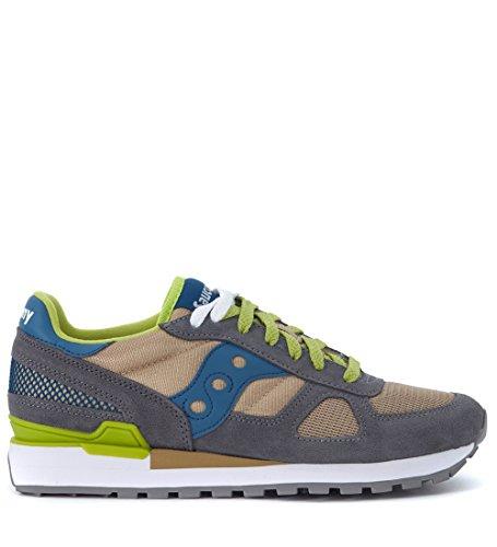 Saucony Sneaker Shadow in Suede Grigio e Mesh Marrone Marrone