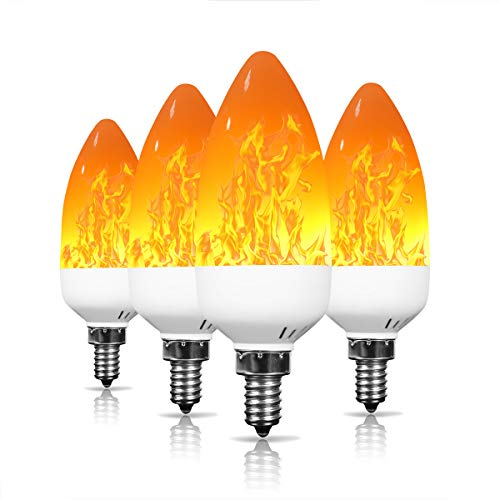E12 Flame Light Bulbs Kakanuo Flickering Candelabra Bulbs 3W 1500K Warm White Chandelier Light Bulbs for Christmas Halloween Party Decorative,4 Pack -