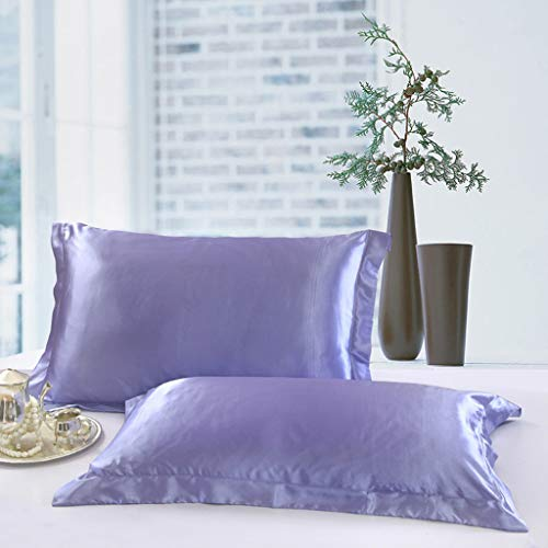 Price comparison product image YLCOYO Solid Pillow Case Queen Standard Satin Bedding Pillowcase Smooth Silk Home Gift (Purple)