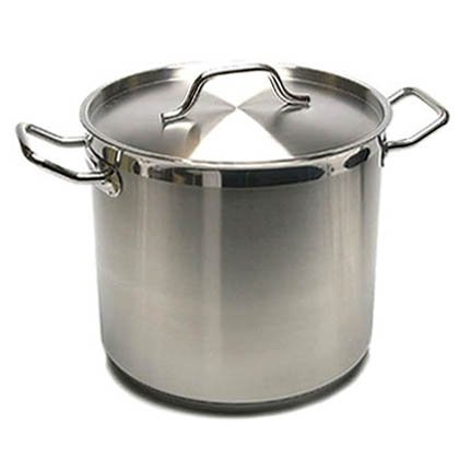 New Professional Commercial Grade 40 QT (Quart) Heavy Gauge Stainless Steel Stock Pot, 3-Ply Clad Base, Induction Ready, with Lid Cover NSF Certified Item by Onesource