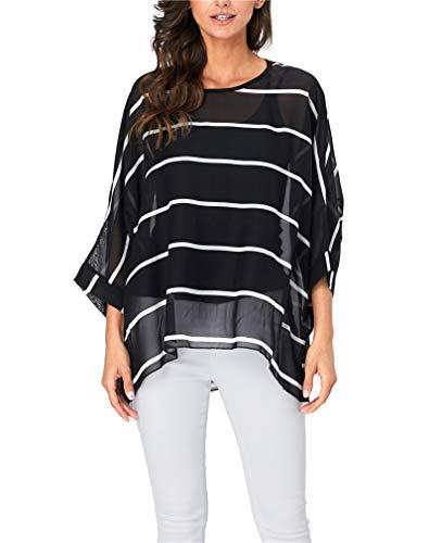 (Vanbuy Womens Summer Printed Batwing Sleeve Top Chiffon Poncho Flowy Loose Sheer Blouse Shirt Tunic Z91-4331)