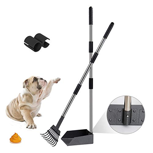 Niubya Poop Scooper for Dogs, Tray and Rake Set with Adjustable Long Handle Metal for Pet Waste Removal, 2 Pack