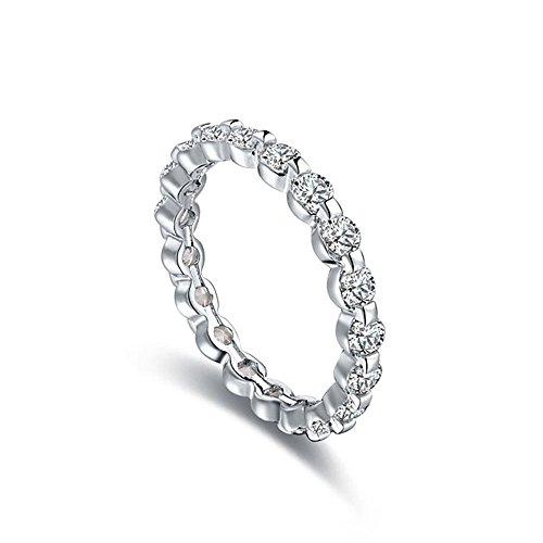 Winter.Z Womens Jewelry Eight Hearts and Eight Arrows Inlaid Zircon Diamond Ring Wedding Platinum