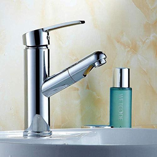 SYF-SYF バスルームのシンクは、ホットスロット付き浴室の洗面台のシンクホットコールドタップミキサー流域の真鍮のシンクのラウンド単穴キッチン蛇口シンク蛇口pullableキッチン蛇口プルをタップし、冷たい水の蛇口 蛇口