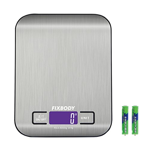FIXBODY Digital Kitchen Scale Multifunction Food Scale, 11 lb/5 kg,Stainless Steel,Silver (Batteries Included