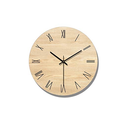 Minimalist Wall Clock Modern Design Living Room Decoration Nordic Wooden Wall Clocks Quartz Watch Home Decor Silent,Type A Without Frame,16 Inch