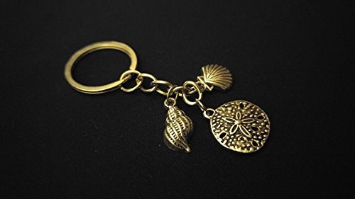 SAND DOLLAR CONCH CLAM SHELLS BEACH Silver Metal Charm Keychain Key Unique Gift