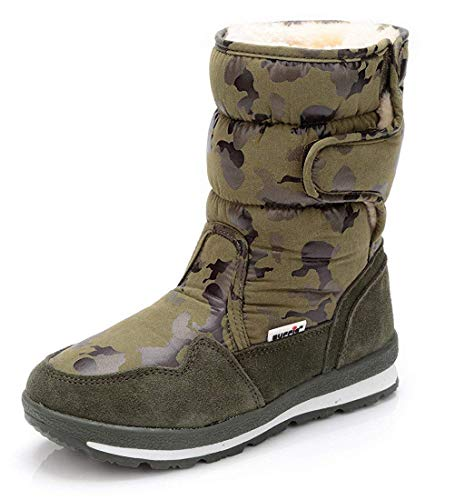 MOREMOO Girl's Boy's Waterproof Outdoor Cold Weather Snow Boots (Toddler/Little Kid/Big Kid) Green Camouflage ()