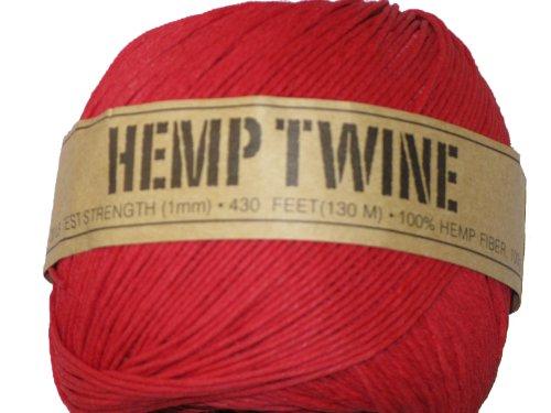 (Hemp Twine Red 20# 1mm 430Ft 130m )