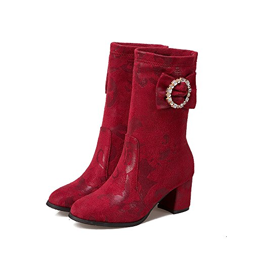 Short qin Heels Round Boots Shoes Wine Head Block Women's Middle Red amp;X Heel BUBWqp1F