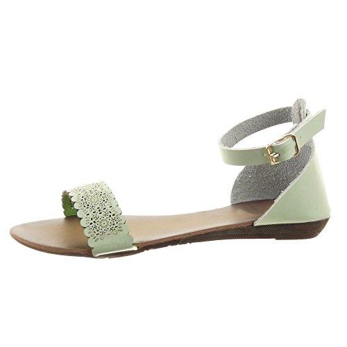 Sopily - Zapatillas de Moda Sandalias Caña baja mujer flores Perforado Hebilla Talón Plataforma 1.5 CM - Verde
