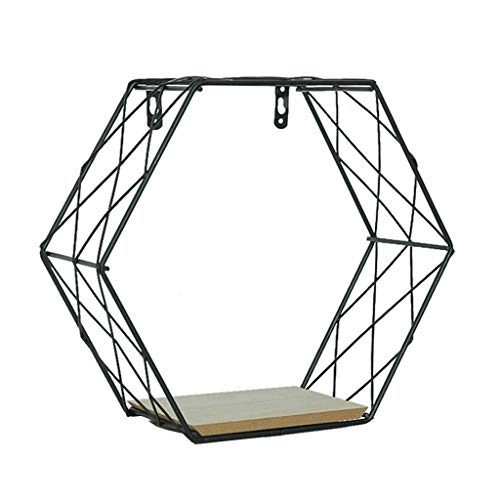 (Quaanti Floating Wall Shelves,Geometric Iron Hexagonal Wall Decor Shelf Metal Wooden Rustic Decorative Metal Hanging Shelves Storage Holder for Bedroom,Living Room,Kitchen,Office (S/ 8.7x7.8in))