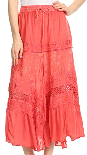Sakkas 80154 - Sally Bohemian Casual Mid Length Skirt With Crochet Lace Full Circle - Coral - OS