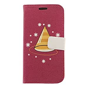 Christmas Hat Drawing Pattern Faux Leather Hard Plastic Cover Pouches for Samsung Galaxy S3 I9300