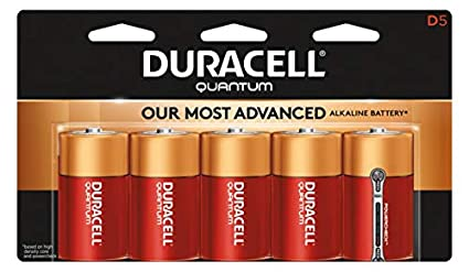 Pack of 5 Duracell QU1300B5TBCD Quantum Alkaline D Batteries