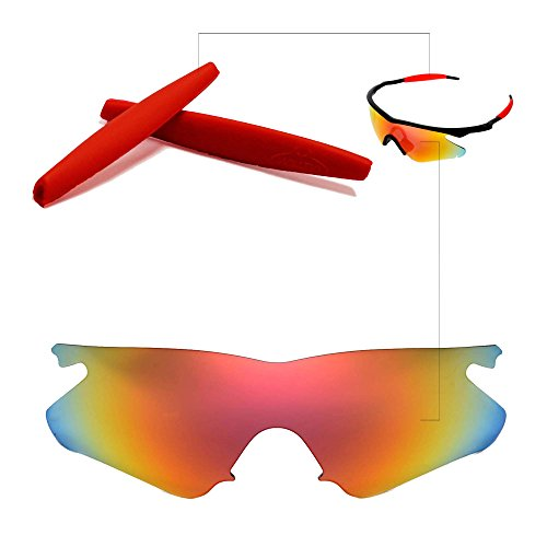 Walleva Polarized Replacement Lenses + Rubber for Oakley M Frame Heater - Multiple options available (Fire Red Polarized Lenses + Red Rubber)