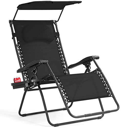 Goplus Folding Zero Gravity Lounge Chair Wide Recliner for Outdoor Beach Patio Pool w Shade Canopy Black Zero Gravity Chair