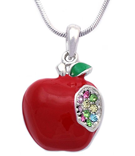 3D Red Apple w/ One Bite Heart Pendant Necklace Jewelry Gift For Teachers