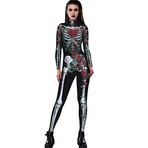 Tsyllyp Women Skeleton Halloween Costume Bodysuit Cop Cosplay Jumpsuits and Rompers