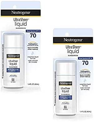 Ultra Sheer Liquid Daily Facial Sunscreen with Broad Spectrum SPF 70, Non-Comedogenic, Oil-free & PABA-Free Weightless Sun Protection, 1.4 fl. oz (Pack Of 2)