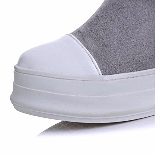 Bottes Gris Hautes Rff Bottes éponge Hiver En Code Drapeau femmes Chaussures Daim p6qR0A