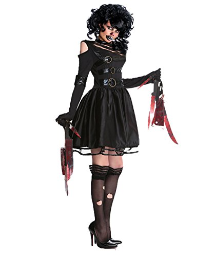 Strong Female Halloween Costumes (Halloween Edward Scissorhands Costume Women Zombie Ghost Cosplay Fancy Dresses)