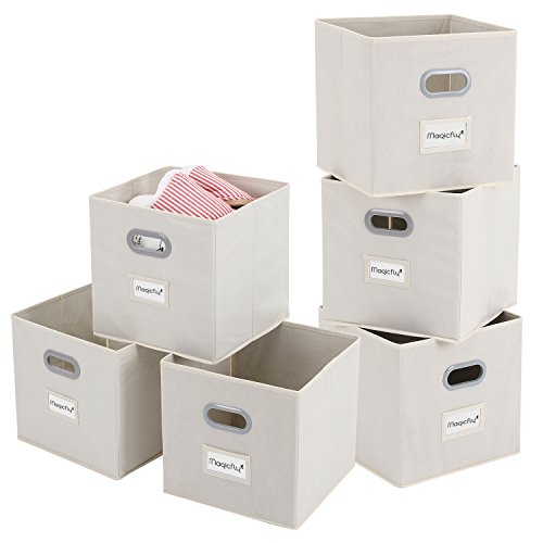 - Fabric Bin with Label Holders, Magicfly Set of 6 Foldable Storage Cubes with Handle for Closet, Books, Bedroom, 12