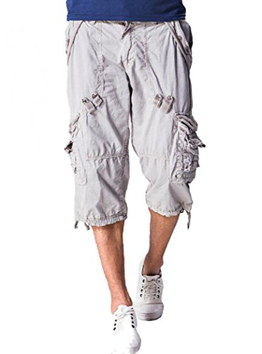 Amoystyle Men's Relaxed Fit Long Cargo Shorts Capri Pants Light Gray Tag - White Messenger