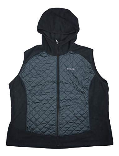 Columbia Women's Plus Size Warmer Days Quilted Hooded Vest (Black, 3X)