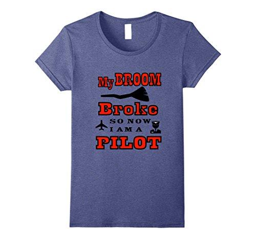 Womens Pilot Halloween Costume T Shirt Small Heather Blue