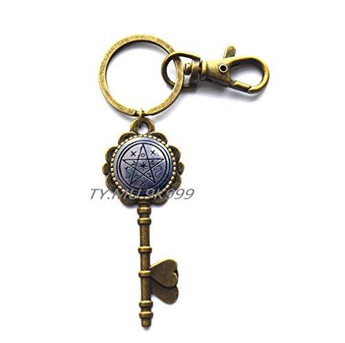 (Pentagram Key Keychain, Wicca Key Key Ring, Pagan Key Keychain, Tribal Key Keychain, Pentacle Gothic Jewelry, Wicca Jewelry.Y80 (1))