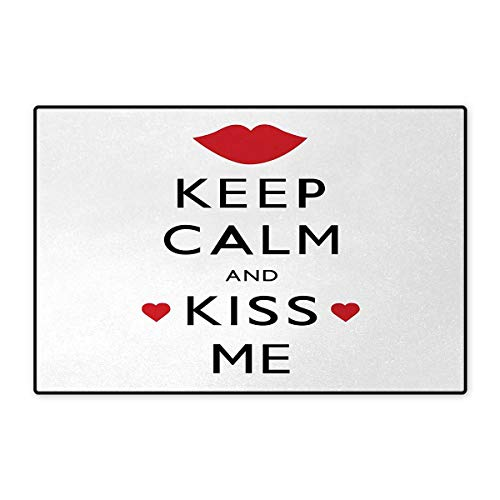 """Keep Calm,Bath Mat,Kiss Me Poster Design with Red Hearts and a Kiss Valentines Day Romance,Doormats for Inside Non Slip Backing,Black Red White 20""""x32"""""""