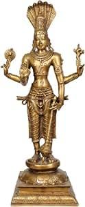 Large Size Chaturbhuja Vishnu - Brass Statue