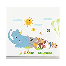 Funny Adhesive Rooms Walls Vinyl DIY Stickers / Murals / Decals / Tattoos For Kids Bedrooms / Nurseries With Drawings of Elephant, Monkey, Bunny, Birds And Smiling Sun Designs In Many Colours By VAGA