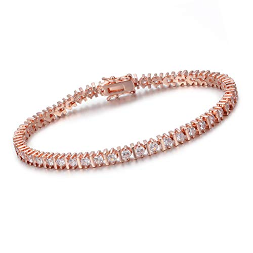 OPALTOP Rose Gold Plated CZ Tennis Bracelet Infinity Cubic Zirconia 3mm Gifts for Women Girls 7.5 Inches